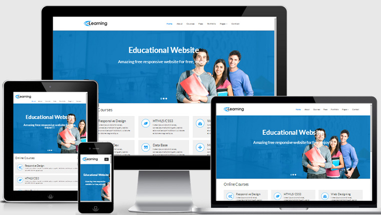 Free educational responsive web template elearning for Free responsive website templates