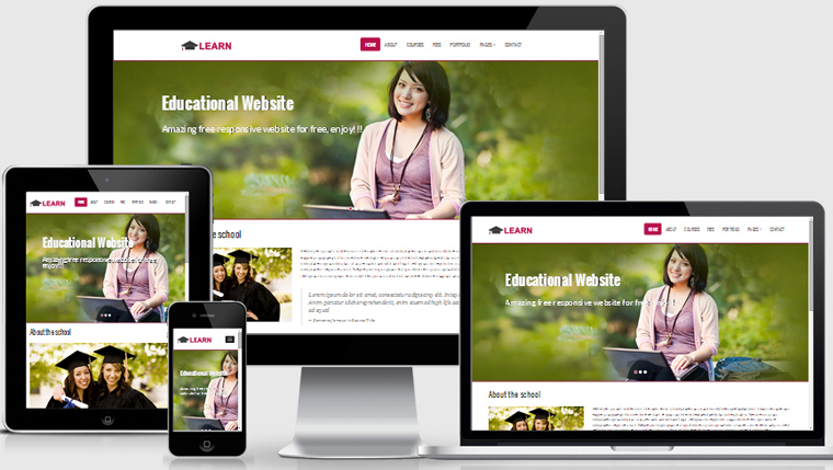 Learn educational free responsive web template webthemez for Free responsive website templates