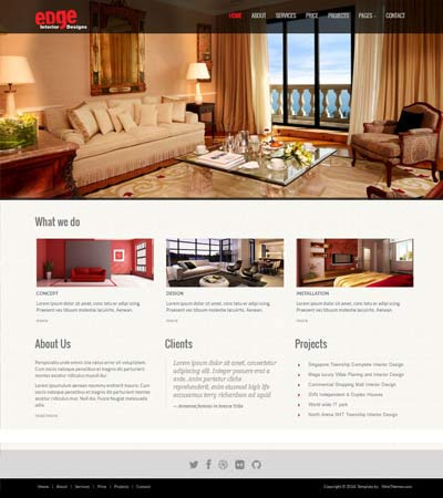 Interior Design Web Templates Alluring Interiordesignresponsivewebsitetemplatesedge Inspiration Design