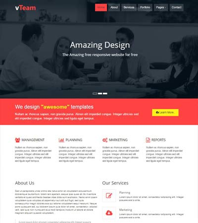 Free simple website templates and bootstrap themes webthemez vteam a corporate multipurpose free bootstrap responsive template accmission Images