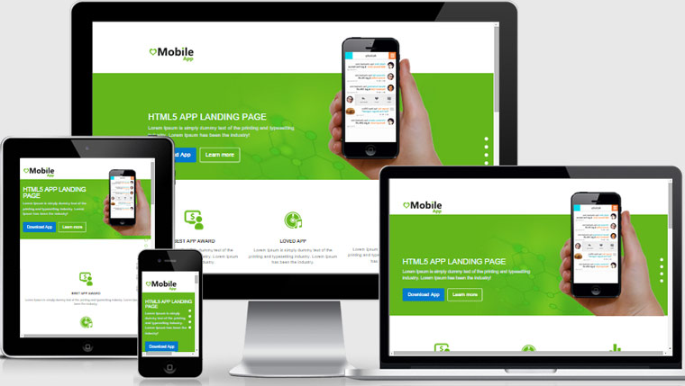 mobile app landing page free download webthemez