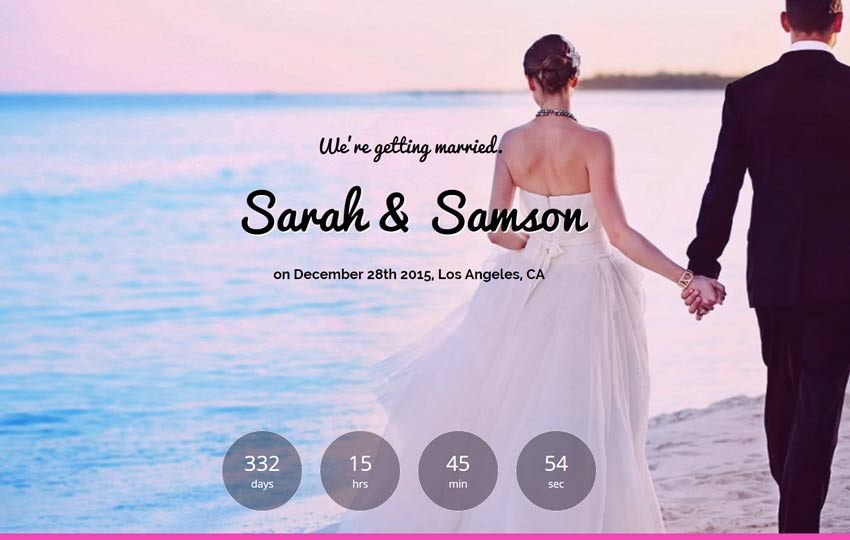 The Best Wedding Free Bootstrap Template - Webthemez