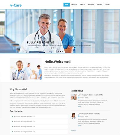 free hospital website template
