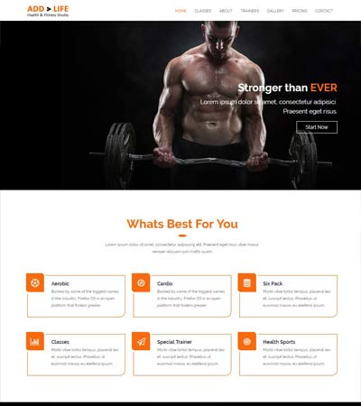 Health Fitness Free Bootstrap Template