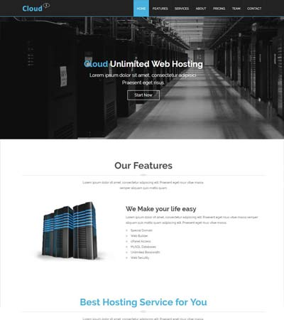 cloud hosting free bootstrap responsive website template download