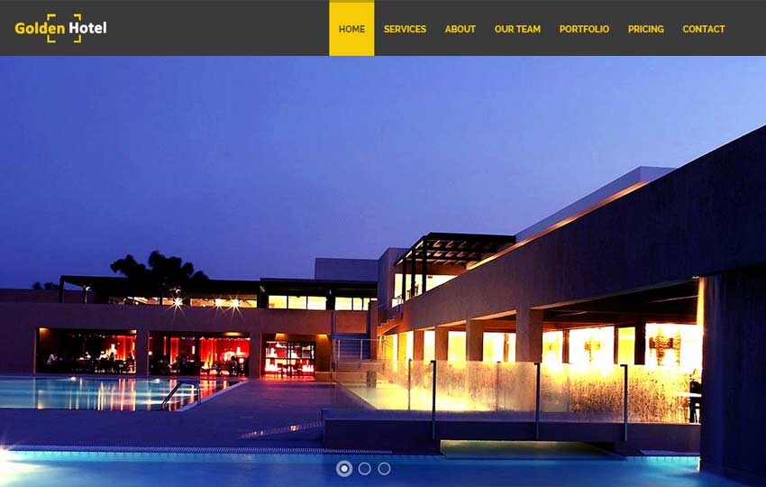 Golden Hotel Website Template Free Download Webthemez