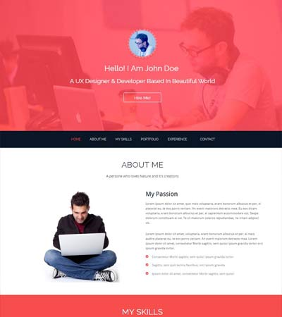 John Bootstrap One Page HTML5 Resume Template  One Page Resume Template