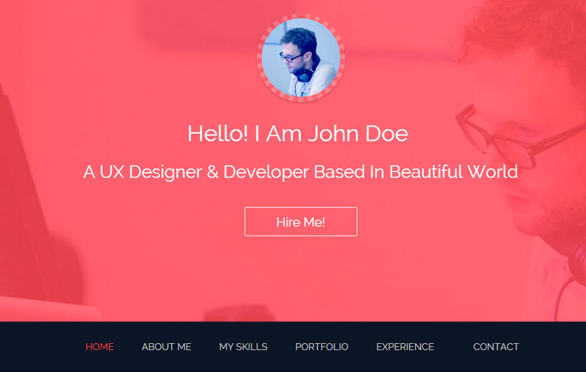 Bootstrap One Page Template  Resume Website Template