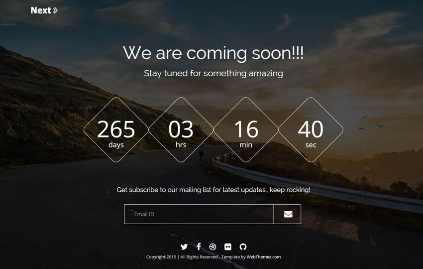 Next responsive coming soon bootstrap template webthemez