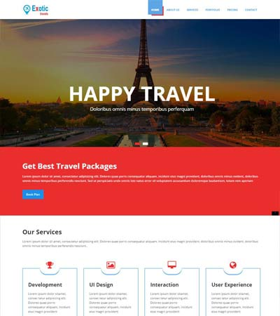 exotic tours and travels bootstrap template