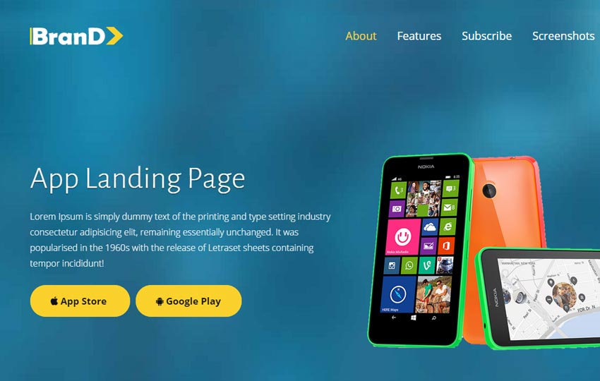 app landing page template free download webthemez