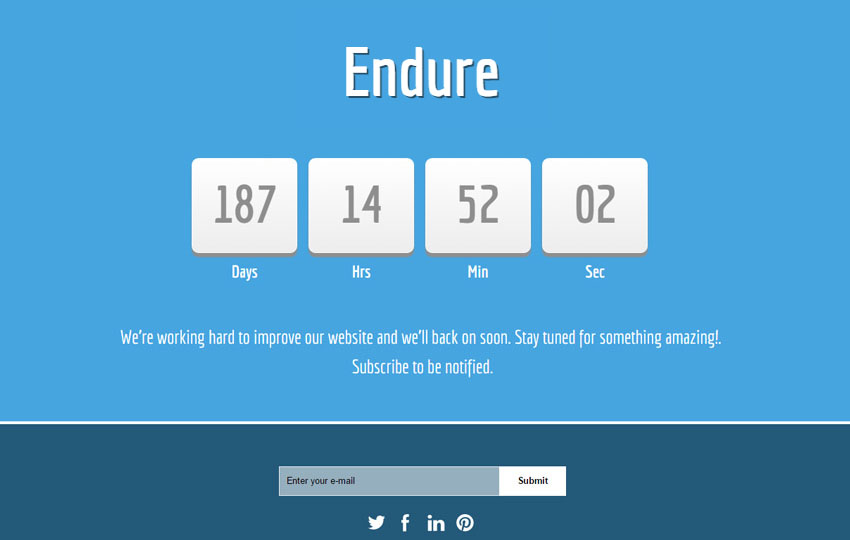 Endure Html5 Responsive Coming Soon Template