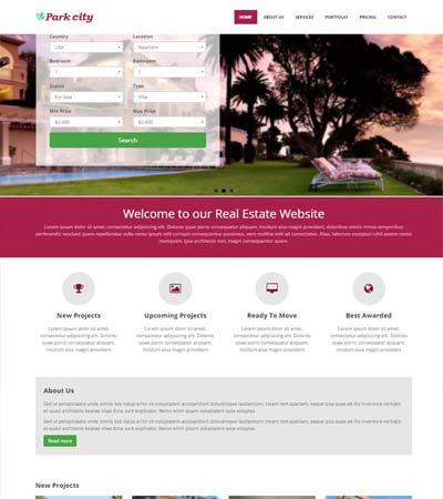 real estate website template free