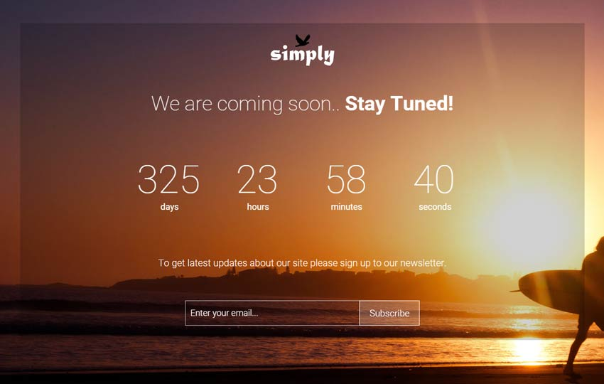 Simply bootstrap coming soon template