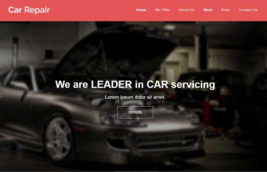 car repair html5 bootstrap template webthemez