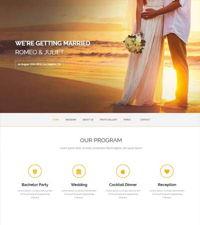 Forever Wedding Bootstrap Free Website Template