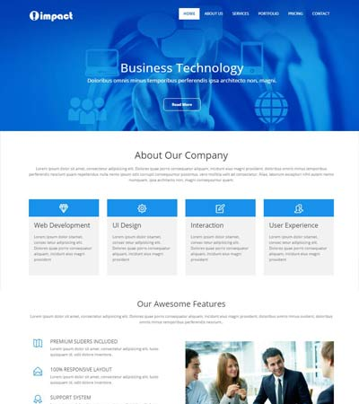 Free html5 template with css and fully responsive impact business bootstrap responsive web template friedricerecipe Choice Image
