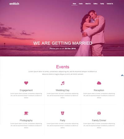 enrich bootstrap free wedding website template download