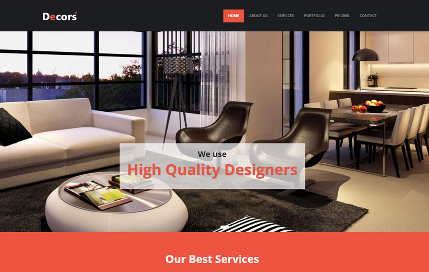 101 latest free responsive html templates 2018 for Interior design responsive website templates edge free download