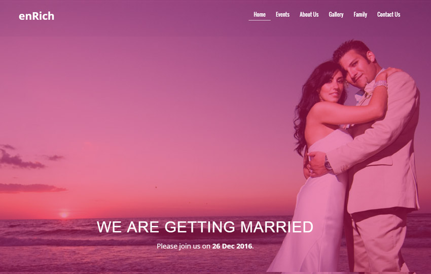 free wedding website template by the webthemez