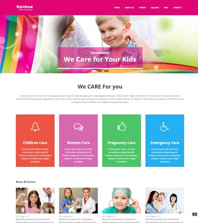 Rainbow Children Hospital Bootstrap Website Template