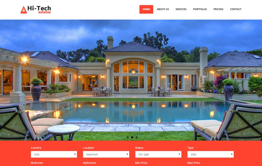 Real Estate Free Bootstrap Website Template Webthemez