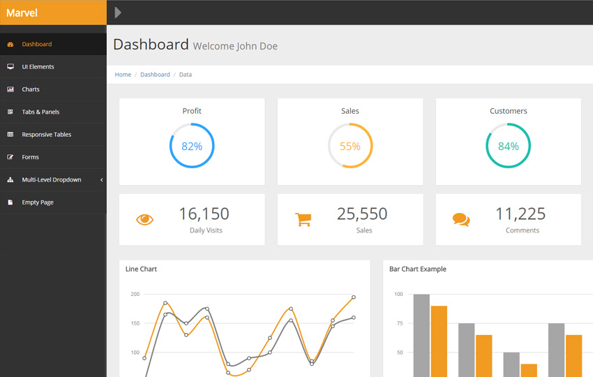 Free Bootstrap Admin Templates For Web Application