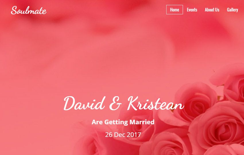 Bootstrap HTML Wedding Template