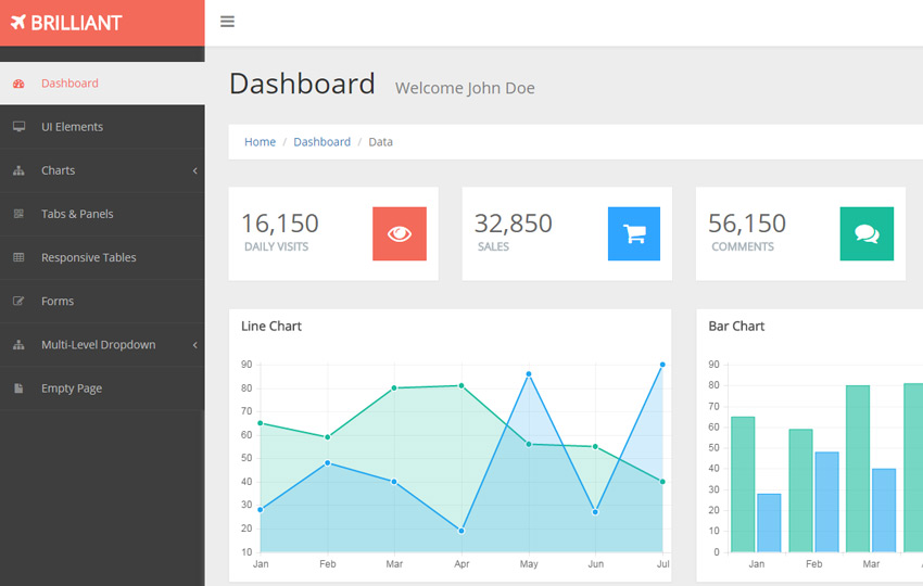 Brilliant free bootstrap admin template webthemez for Bootstrap admin template free
