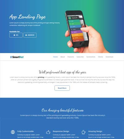 Free Mobile App Template Webthemez
