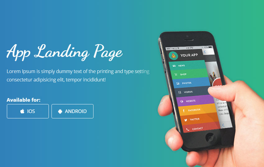 Mobile App Landing Page Bootstrap Web Template