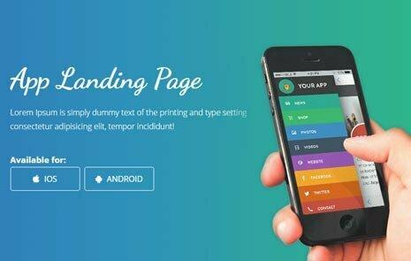 free mobile app landing template