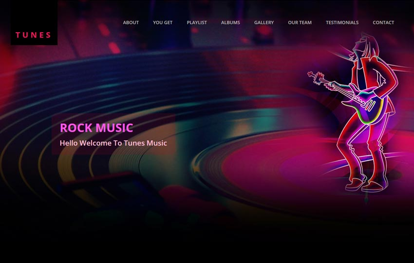 music website free html template by the webthemez