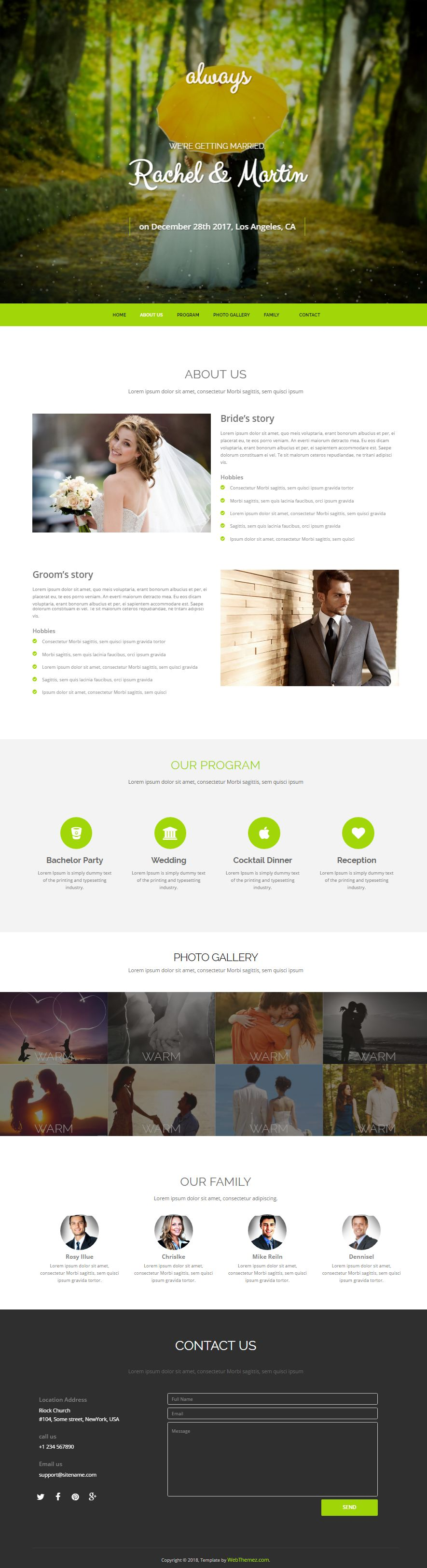 html bootstrap wedding website template free download