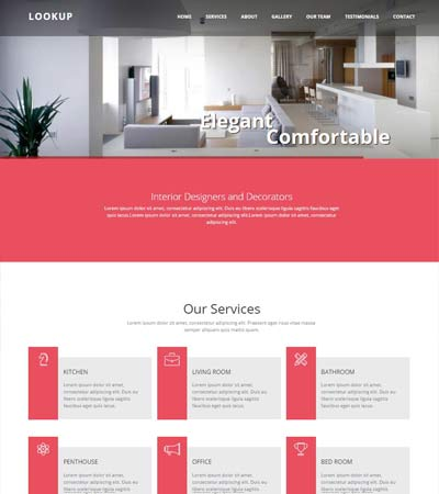 Superb Lookup Interior Design Bootstrap Website Template