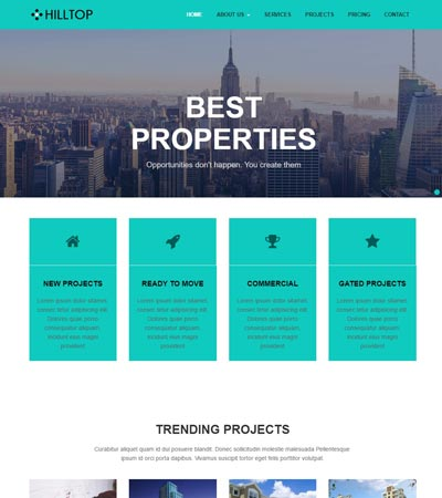 hill top real estate bootstrap free html web template