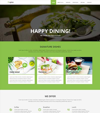 Restaurant Material Design Website Template