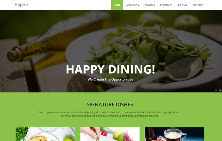 Spice Restaurant Material Design Website Template
