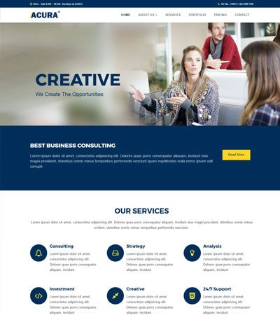 Acura Business Bootstrap Website Template - WebThemez