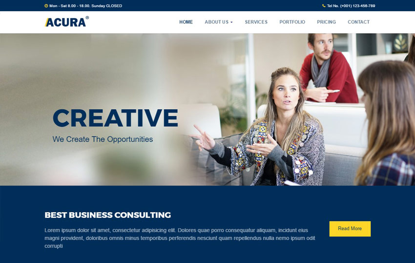 acura business bootstrap website template webthemez