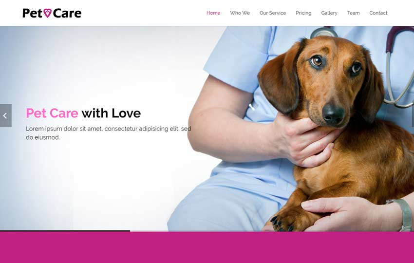 Pet Care Bootstrap HTML5 Website Template