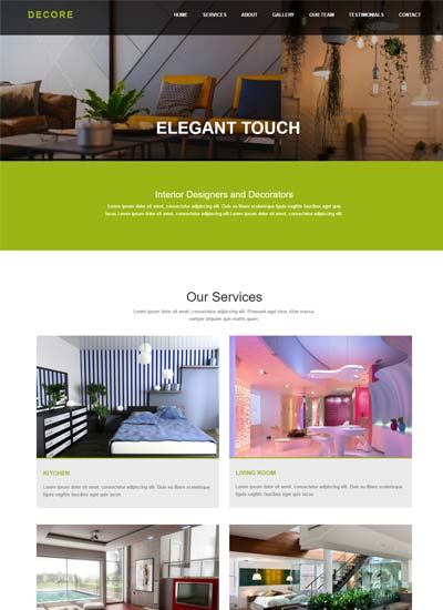 decore interior design html bootstrap website template - Free Download Interior Design