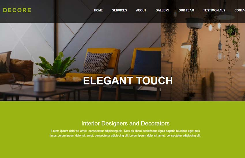 interior design web template