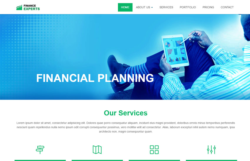 financial services html5 website template free download