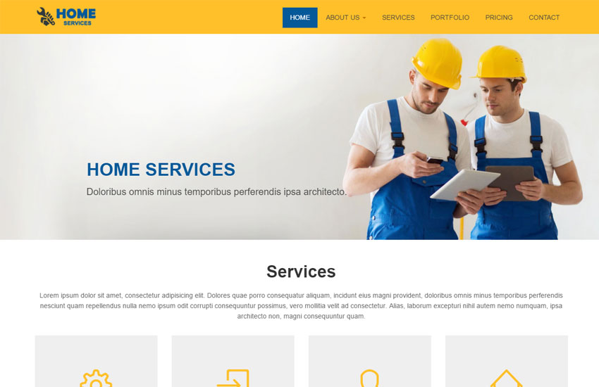 home services bootstrap website template free download