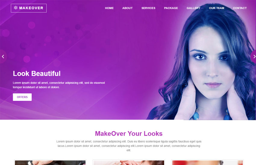 beauty parlour website template for free download