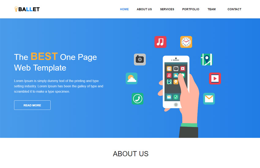 One Page Free Website Template