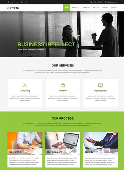 Best free material design templates from webthemez xtream corporate responsive website template fbccfo Image collections