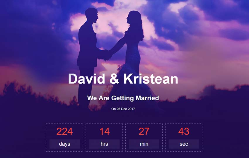 wedding bootstrap website template free download