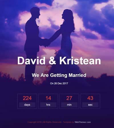 Wedding Bootstrap Website Template
